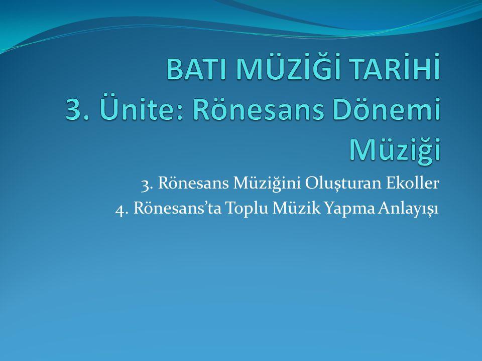 BATI MÜZİĞİ TARİHİ 3. Ünite: Rönesans Dönemi Müziği