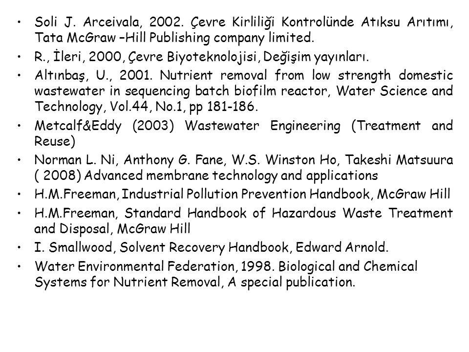 Soli J. Arceivala, 2002. Çevre Kirliliği Kontrolünde Atıksu Arıtımı, Tata McGraw –Hill Publishing company limited.