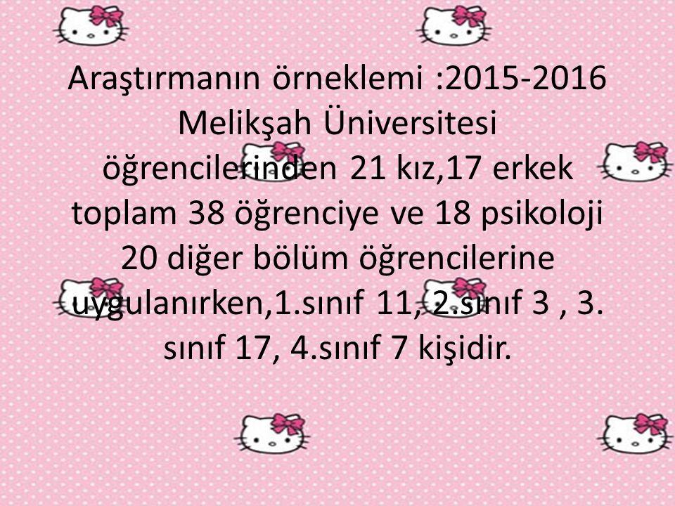 Araştırmanın örneklemi :2015-2016 Melikşah Üniversitesi öğrencilerinden 21 kız,17 erkek toplam 38 öğrenciye ve 18 psikoloji 20 diğer bölüm öğrencilerine uygulanırken,1.sınıf 11, 2.sınıf 3 , 3.