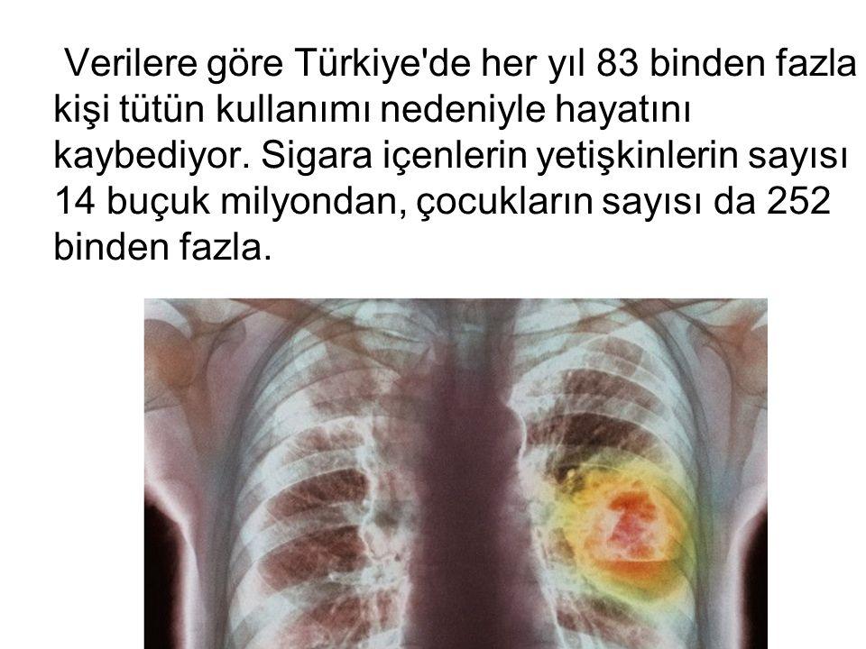 Verilere göre Türkiye de her yıl 83 binden fazla kişi tütün kullanımı nedeniyle hayatını kaybediyor.