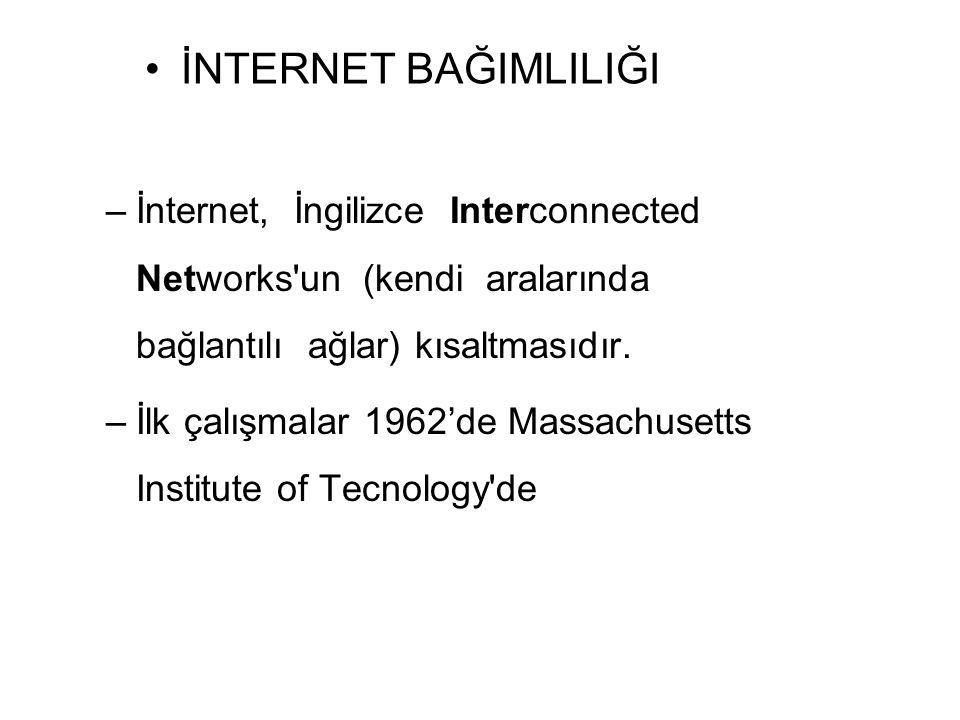 İNTERNET BAĞIMLILIĞI İnternet, İngilizce Interconnected Networks un (kendi aralarında bağlantılı ağlar) kısaltmasıdır.
