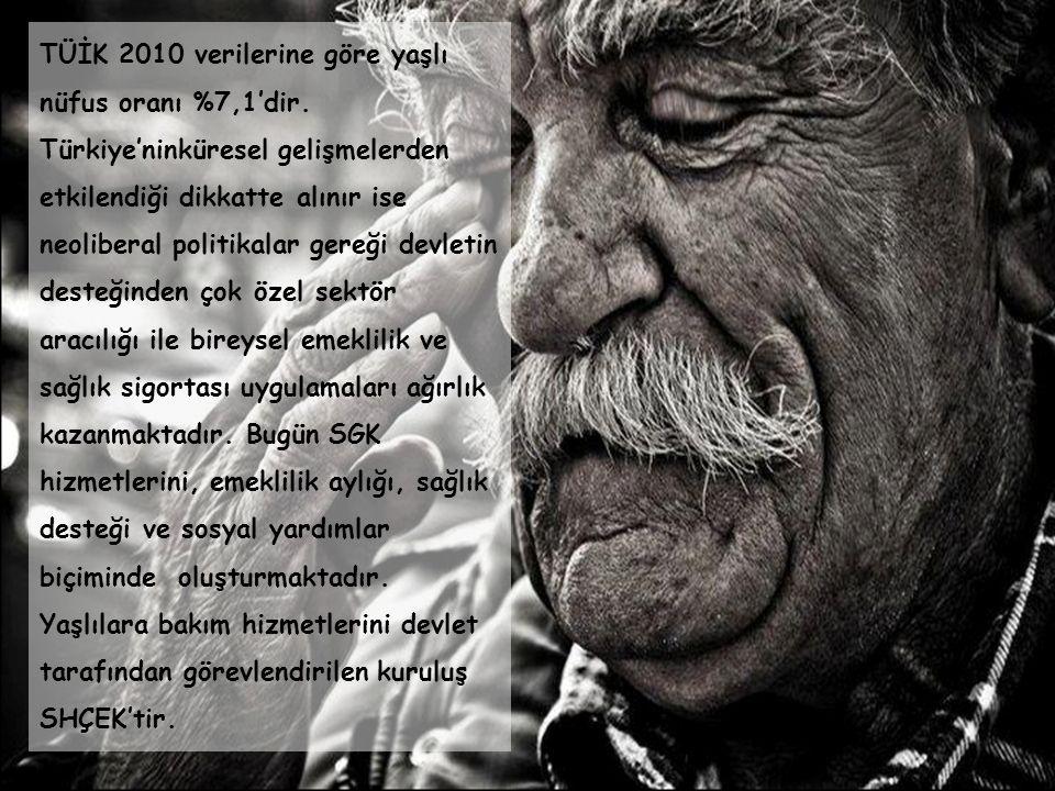 TÜİK 2010 verilerine göre yaşlı nüfus oranı %7,1'dir.