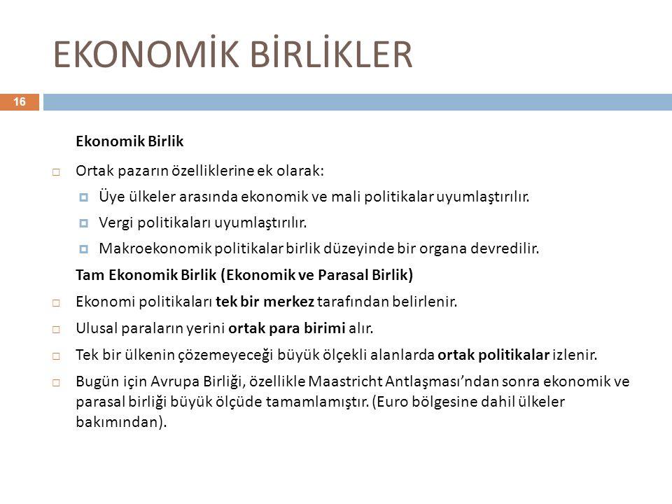 EKONOMİK BİRLİKLER Ekonomik Birlik
