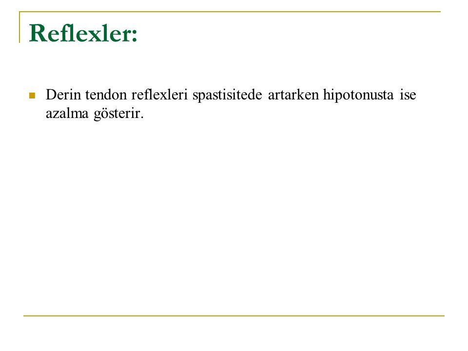 Reflexler: Derin tendon reflexleri spastisitede artarken hipotonusta ise azalma gösterir.