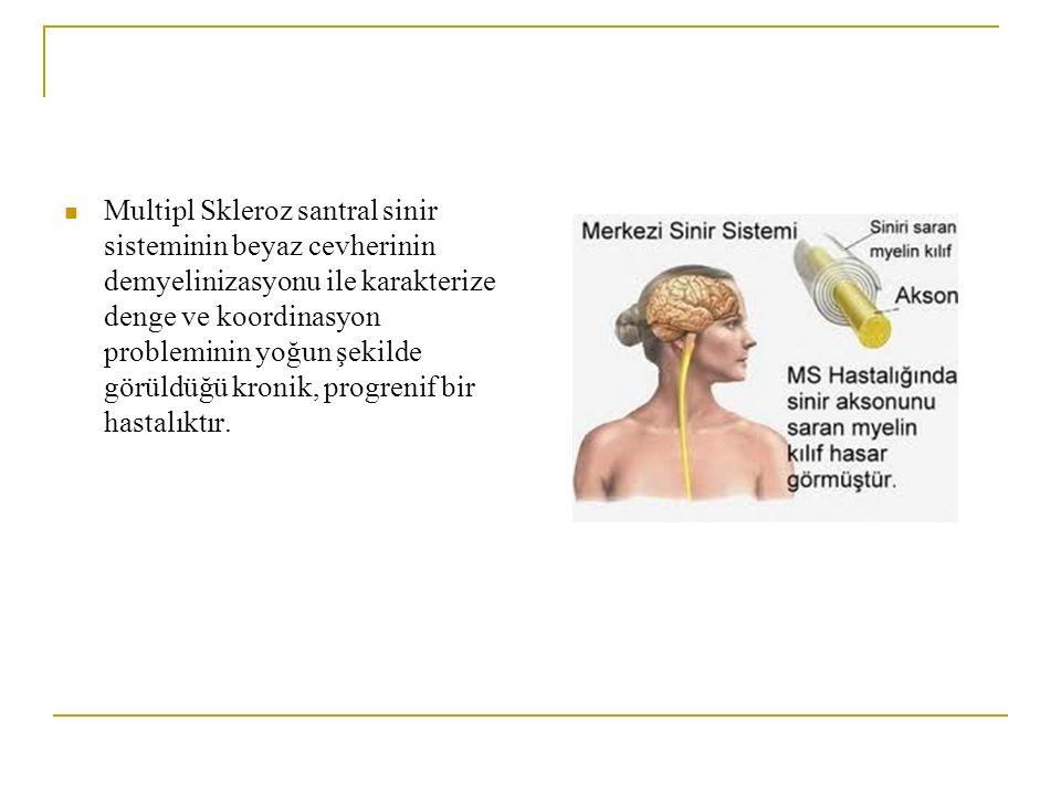 Multipl Skleroz santral sinir sisteminin beyaz cevherinin demyelinizasyonu ile karakterize denge ve koordinasyon probleminin yoğun şekilde görüldüğü kronik, progrenif bir hastalıktır.