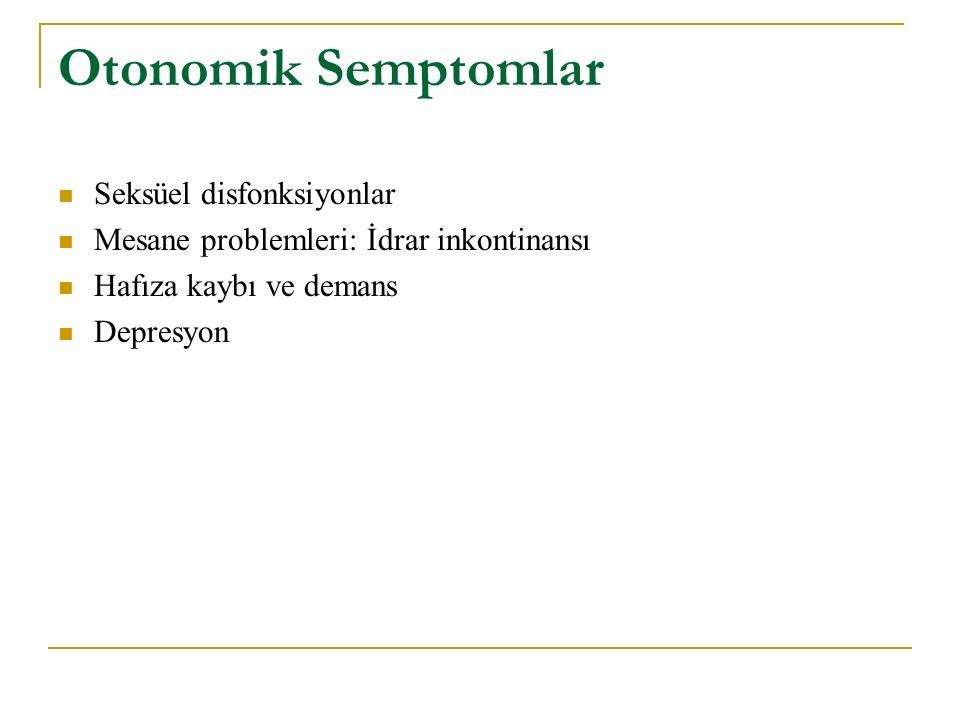 Otonomik Semptomlar Seksüel disfonksiyonlar