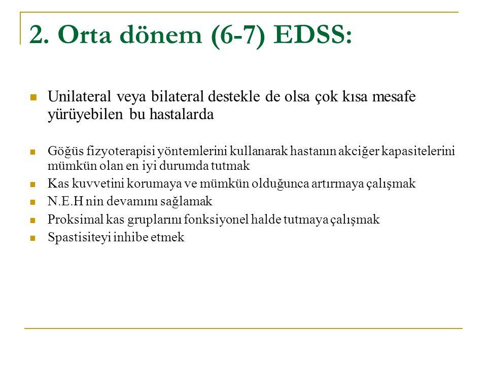 2. Orta dönem (6-7) EDSS: Unilateral veya bilateral destekle de olsa çok kısa mesafe yürüyebilen bu hastalarda.