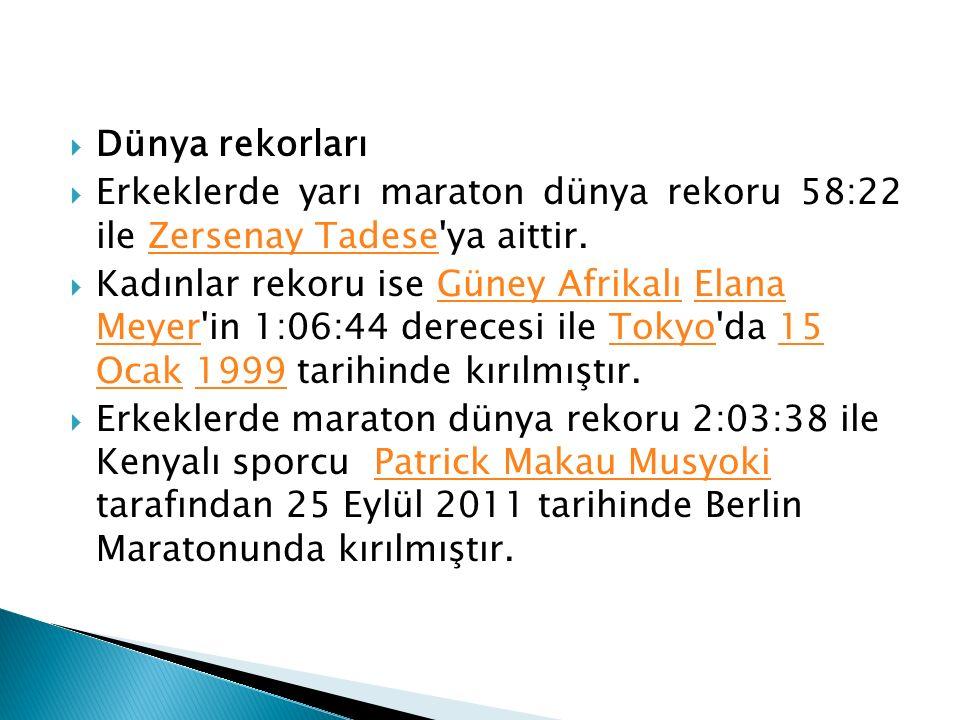 Dünya rekorları Erkeklerde yarı maraton dünya rekoru 58:22 ile Zersenay Tadese ya aittir.