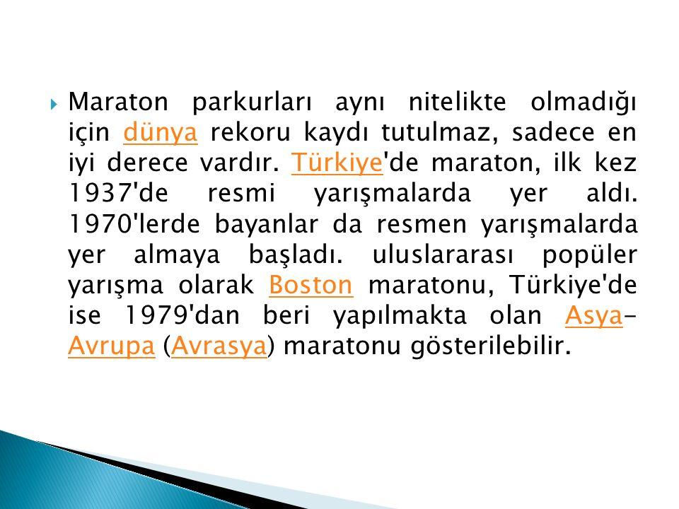 Maraton parkurları aynı nitelikte olmadığı için dünya rekoru kaydı tutulmaz, sadece en iyi derece vardır. Türkiye de maraton, ilk kez 1937 de resmi yarışmalarda yer aldı.