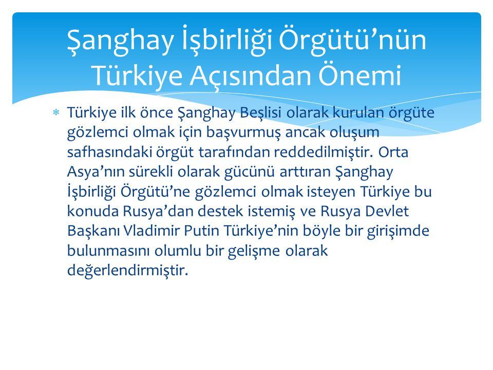 Şanghay İşbirliği Örgütü'nün Türkiye Açısından Önemi