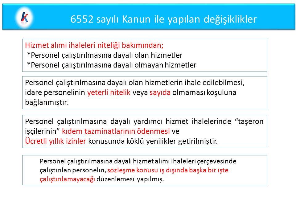 6552 sayılı Kanun ile yapılan değişiklikler
