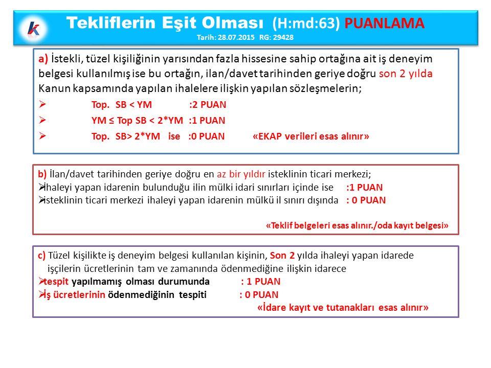 Tekliflerin Eşit Olması (H:md:63) PUANLAMA Tarih: 28.07.2015 RG: 29428