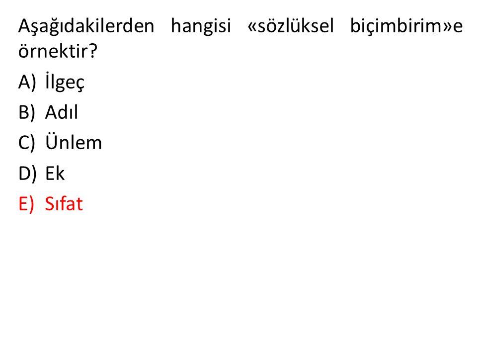 Aşağıdakilerden hangisi «sözlüksel biçimbirim»e örnektir