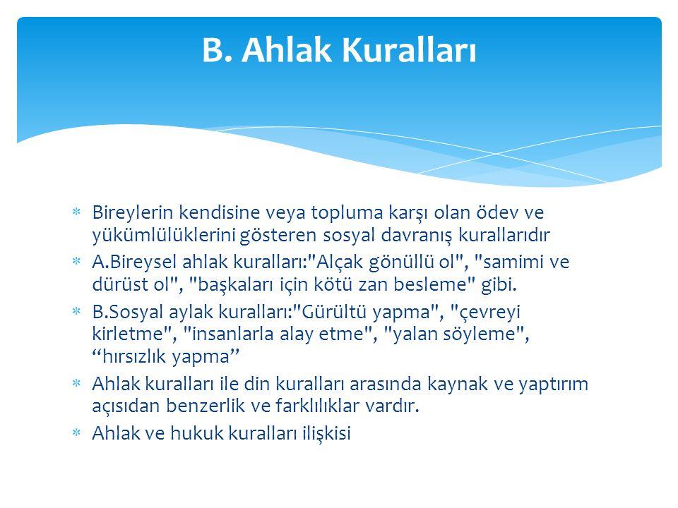 B. Ahlak Kuralları Bireylerin kendisine veya topluma karşı olan ödev ve yükümlülüklerini gösteren sosyal davranış kurallarıdır.