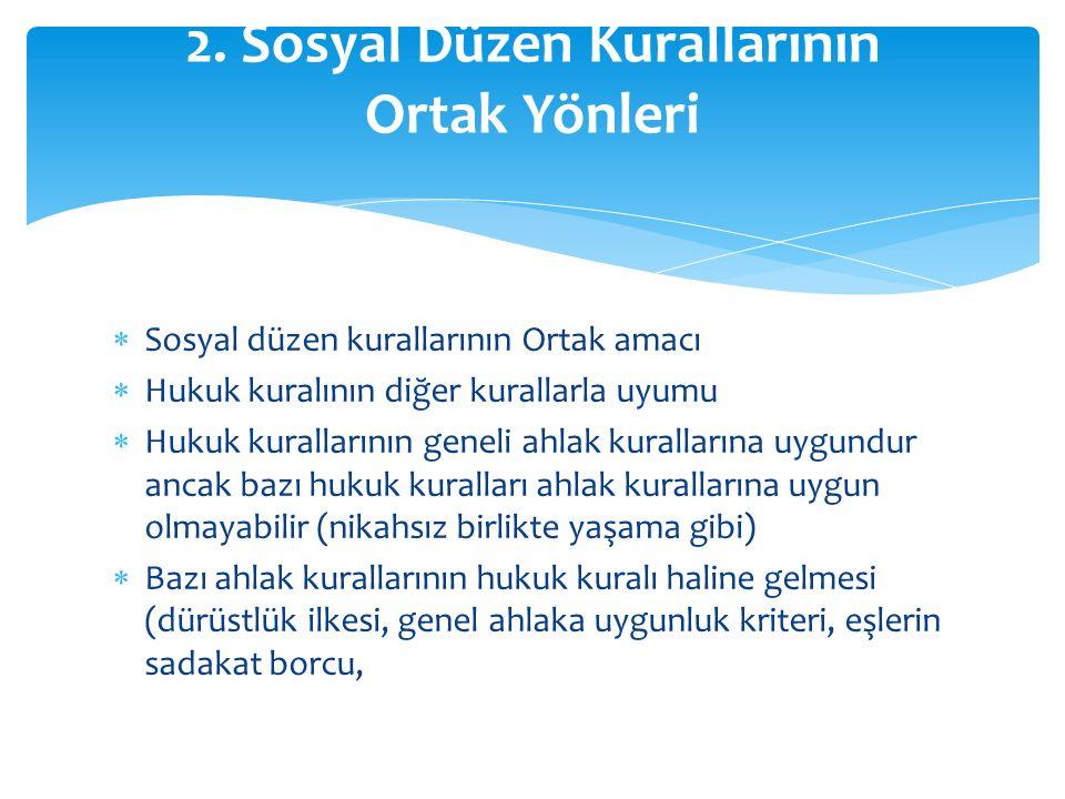 2. Sosyal Düzen Kurallarının Ortak Yönleri
