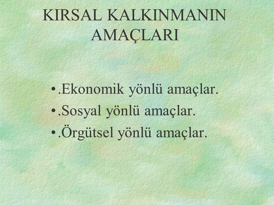 KIRSAL KALKINMANIN AMAÇLARI