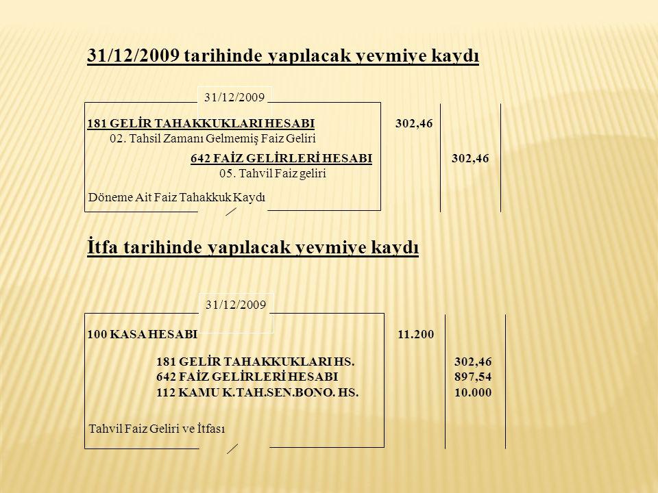 31/12/2009 tarihinde yapılacak yevmiye kaydı