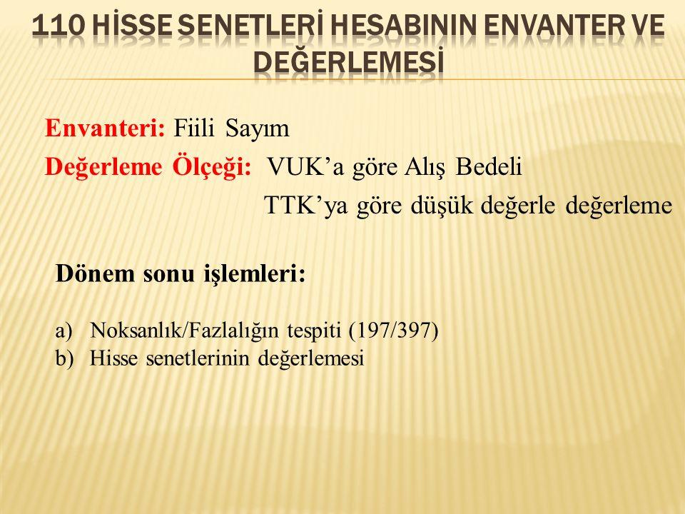 110 Hİsse senetlerİ HESABININ ENVANTER VE DEĞERLEMESİ