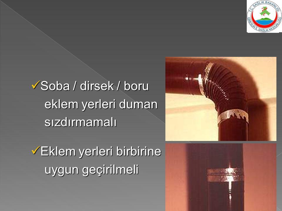 Soba / dirsek / boru eklem yerleri duman sızdırmamalı Eklem yerleri birbirine uygun geçirilmeli