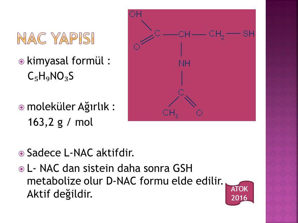 NAC YAPISI kimyasal formül : C₅H₉NO₃S moleküler Ağırlık :