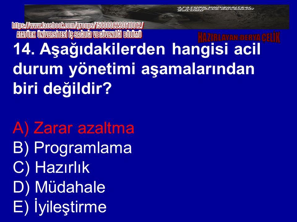 14. Aşağıdakilerden hangisi acil durum yönetimi aşamalarından