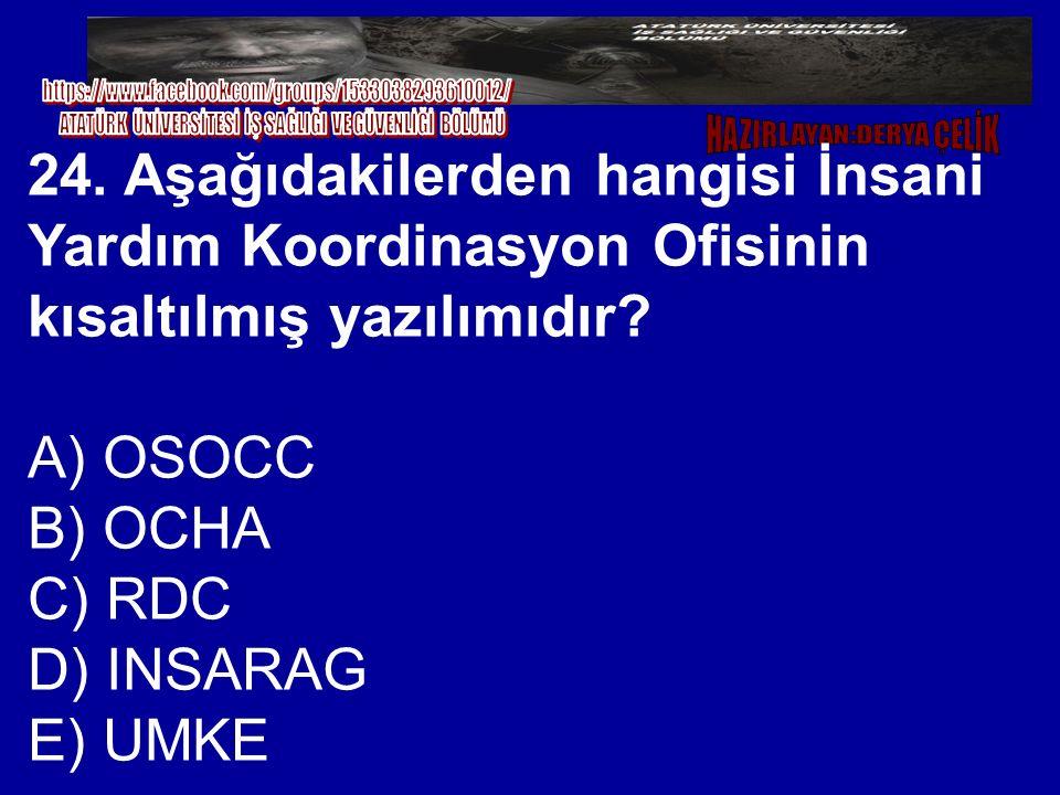 24. Aşağıdakilerden hangisi İnsani Yardım Koordinasyon Ofisinin