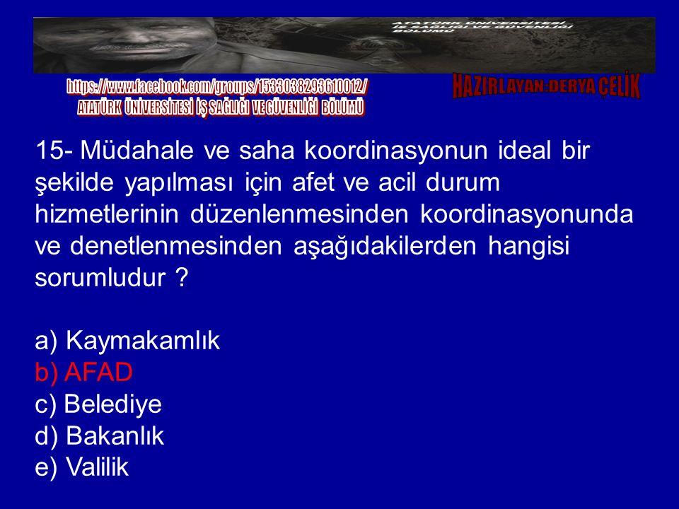 a) Kaymakamlık b) AFAD c) Belediye d) Bakanlık e) Valilik