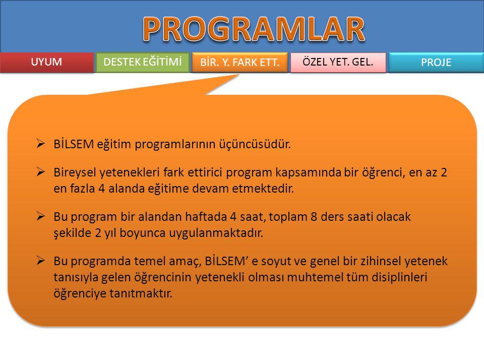 PROGRAMLAR BİLSEM eğitim programlarının üçüncüsüdür.