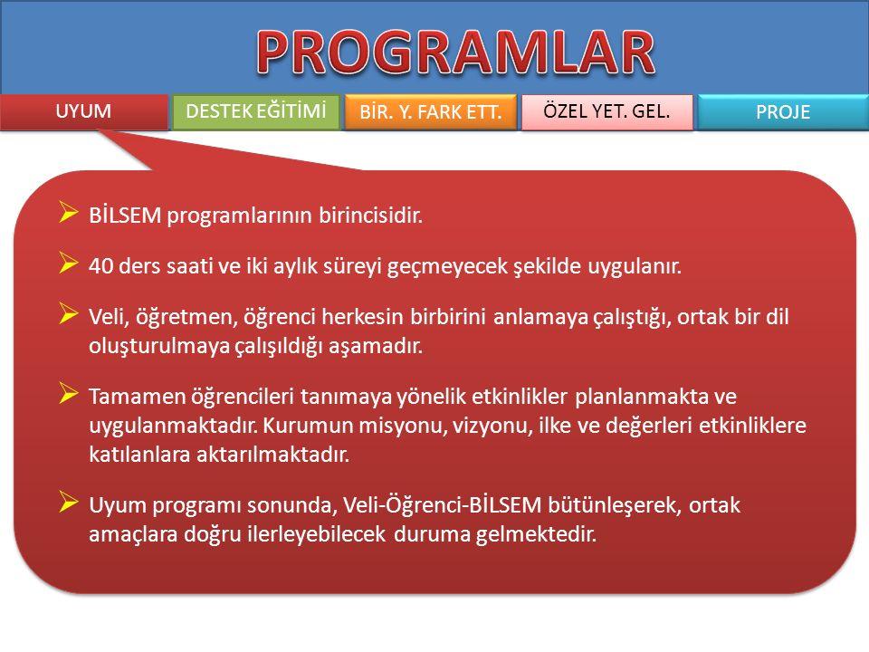 PROGRAMLAR BİLSEM programlarının birincisidir.