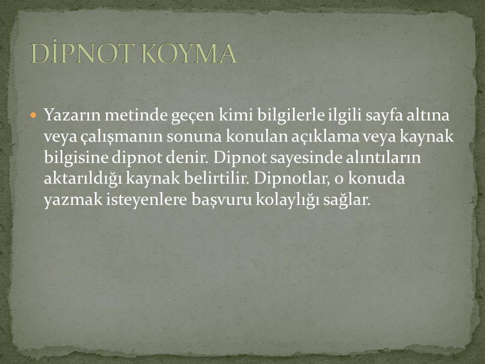 DİPNOT KOYMA