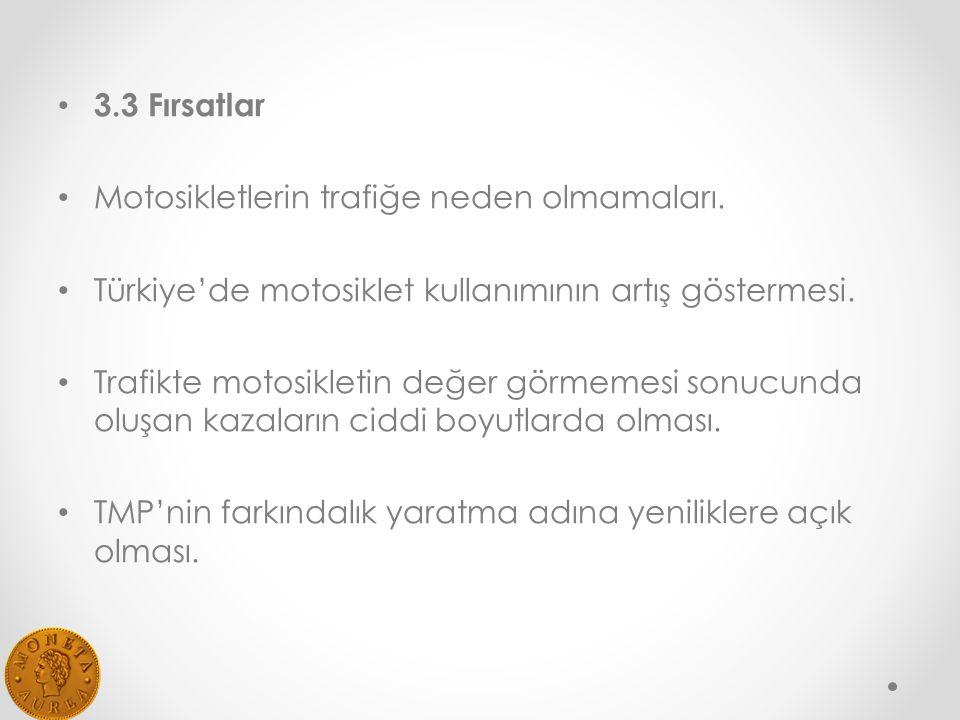 3.3 Fırsatlar Motosikletlerin trafiğe neden olmamaları. Türkiye'de motosiklet kullanımının artış göstermesi.