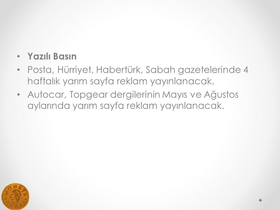 Yazılı Basın Posta, Hürriyet, Habertürk, Sabah gazetelerinde 4 haftalık yarım sayfa reklam yayınlanacak.