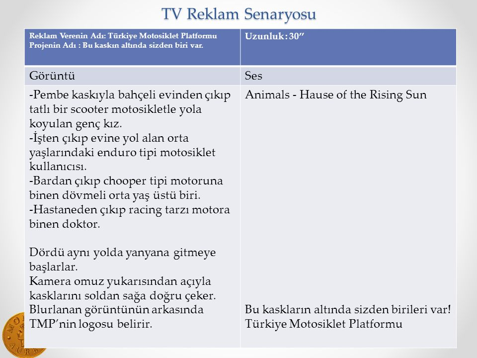 TV Reklam Senaryosu Görüntü Ses