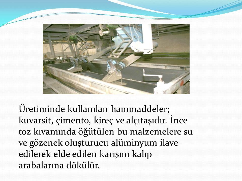 Üretiminde kullanılan hammaddeler; kuvarsit, çimento, kireç ve alçıtaşıdır.