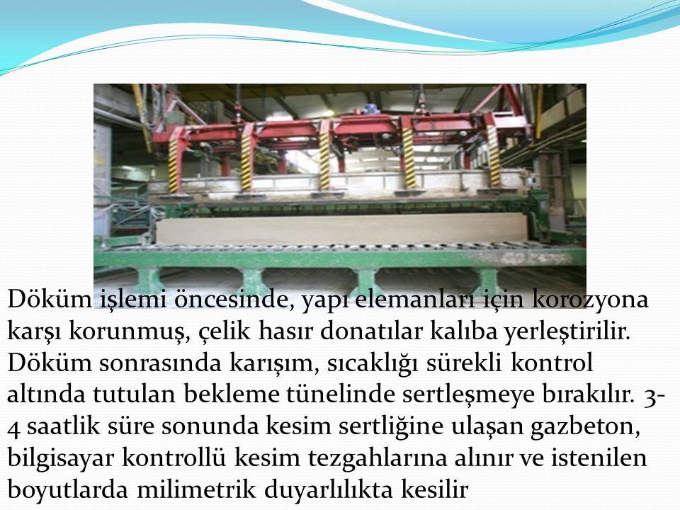 Döküm işlemi öncesinde, yapı elemanları için korozyona karşı korunmuş, çelik hasır donatılar kalıba yerleştirilir.