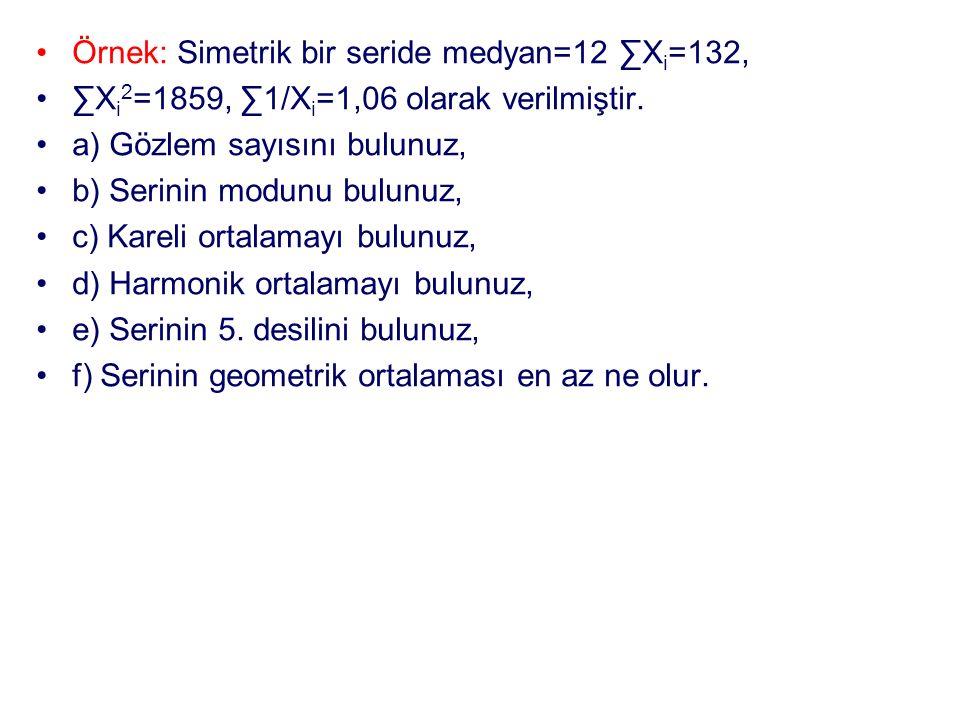 Örnek: Simetrik bir seride medyan=12 ∑Xi=132,