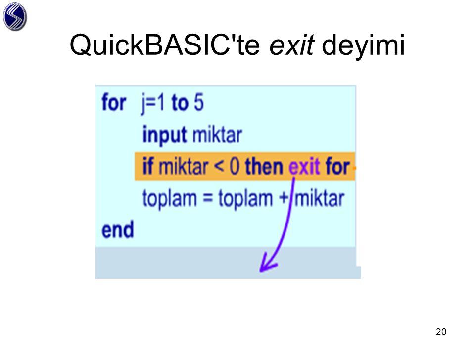QuickBASIC te exit deyimi