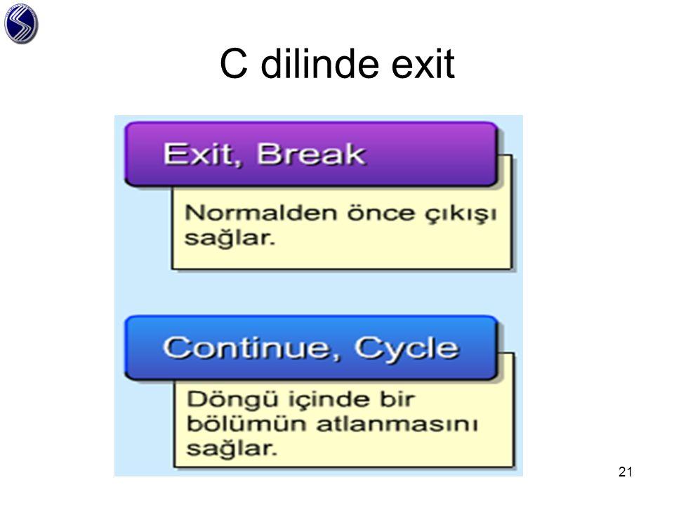 C dilinde exit
