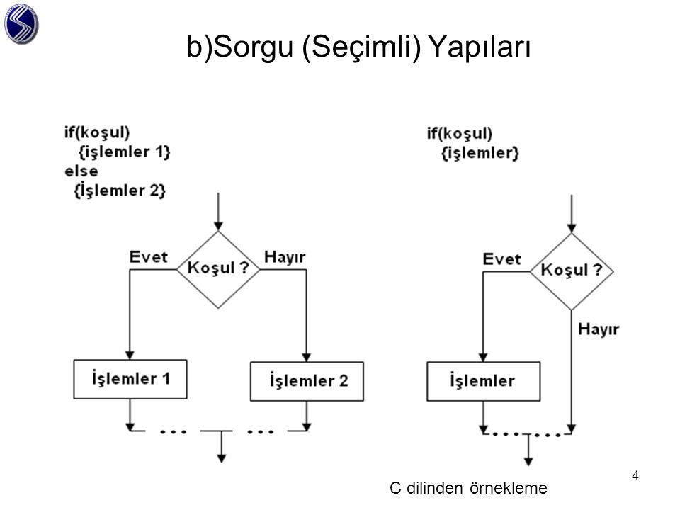 b)Sorgu (Seçimli) Yapıları