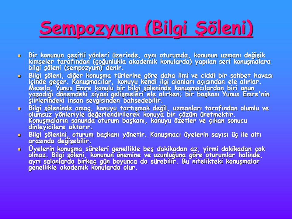 Sempozyum (Bilgi Şöleni)