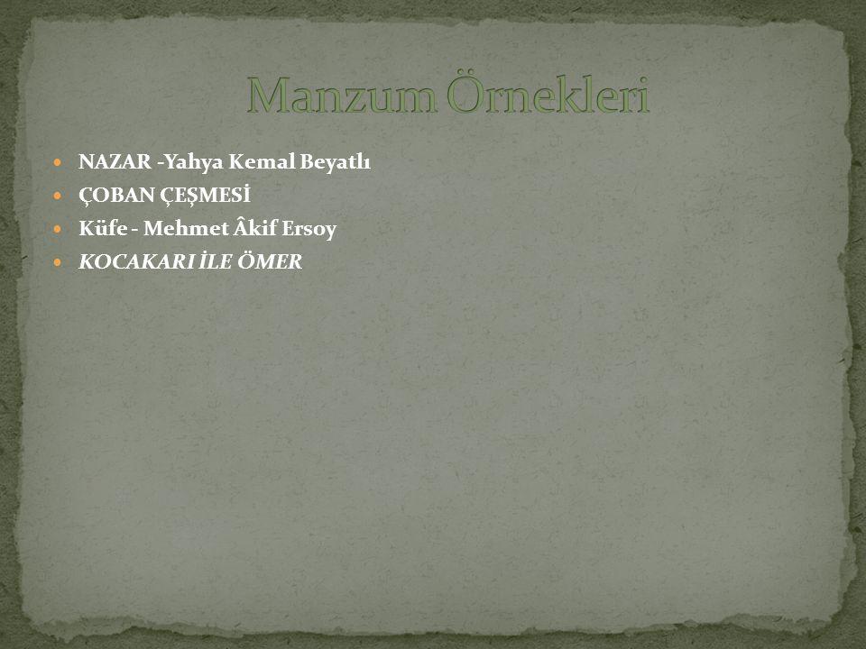 Manzum Örnekleri NAZAR -Yahya Kemal Beyatlı ÇOBAN ÇEŞMESİ
