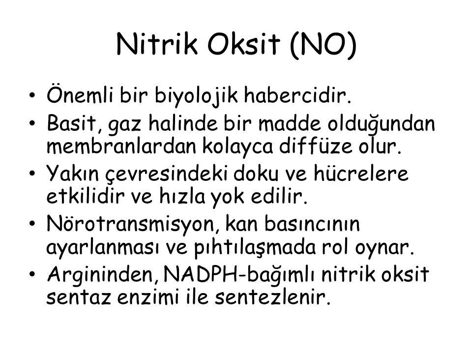 Nitrik Oksit (NO) Önemli bir biyolojik habercidir.