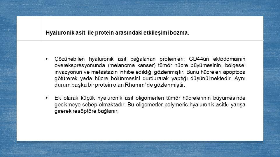 Hyaluronik asit ile protein arasındaki etkileşimi bozma: