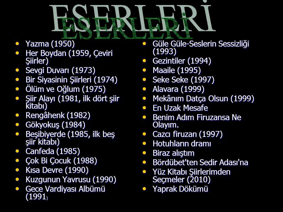 ESERLERİ Yazma (1950) Her Boydan (1959, Çeviri Şiirler)