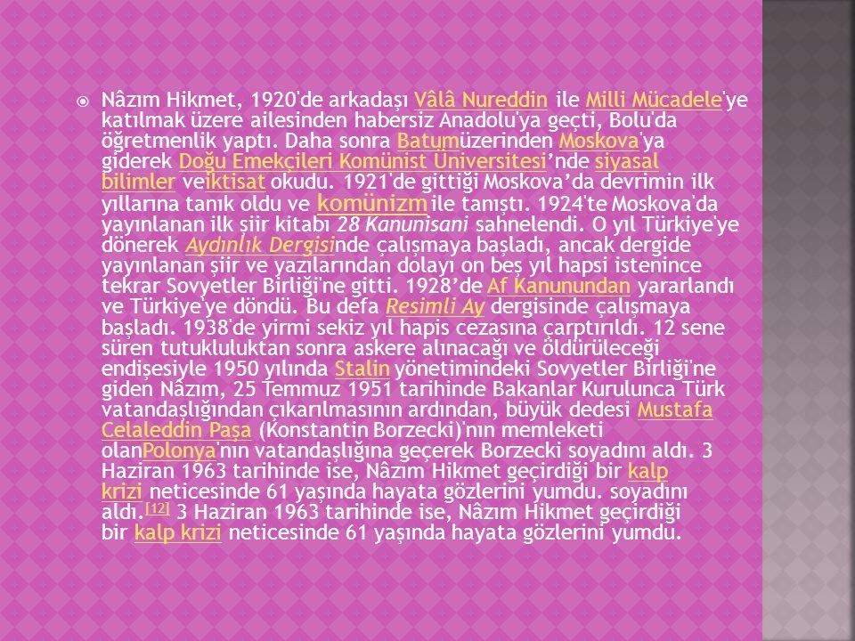 Nâzım Hikmet, 1920 de arkadaşı Vâlâ Nureddin ile Milli Mücadele ye katılmak üzere ailesinden habersiz Anadolu ya geçti, Bolu da öğretmenlik yaptı.