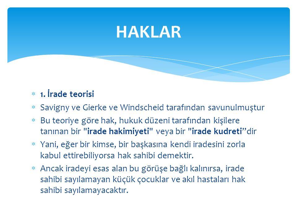 HAKLAR 1. İrade teorisi. Savigny ve Gierke ve Windscheid tarafından savunulmuştur.