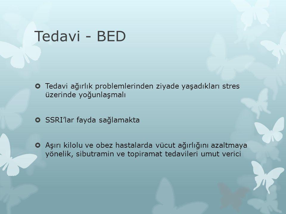 Tedavi - BED Tedavi ağırlık problemlerinden ziyade yaşadıkları stres üzerinde yoğunlaşmalı. SSRI'lar fayda sağlamakta.