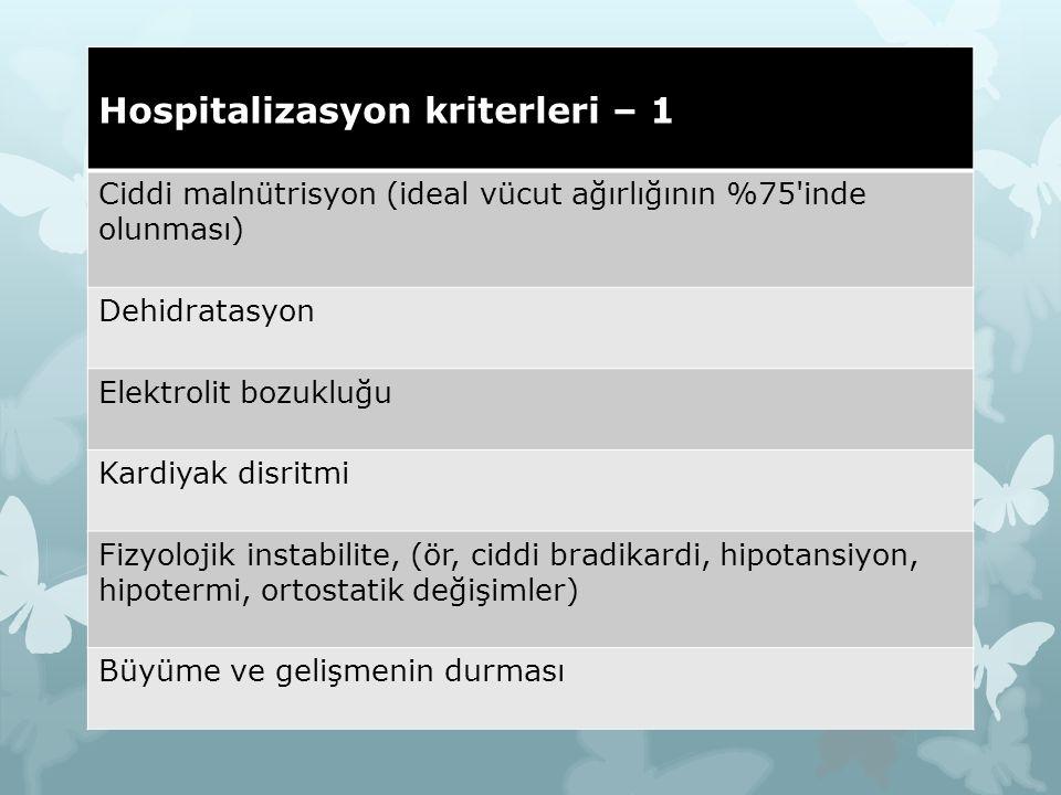 Hospitalizasyon kriterleri – 1