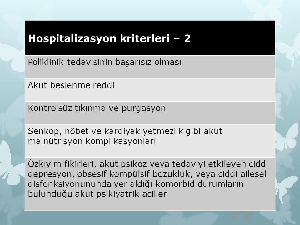 Hospitalizasyon kriterleri – 2