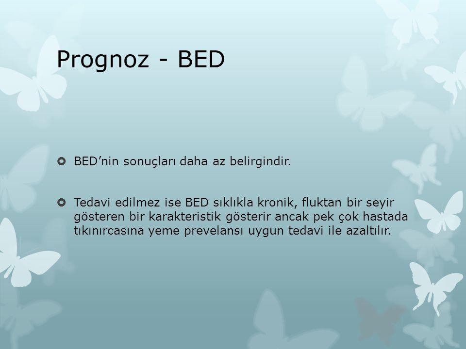 Prognoz - BED BED'nin sonuçları daha az belirgindir.